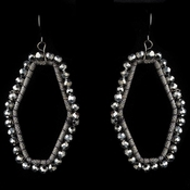 Black Hematite Modern Earrings 9504 Accented w/ Crystal Beads