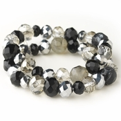 Black & Smoke Faceted Glass Stretch Bracelet 9507