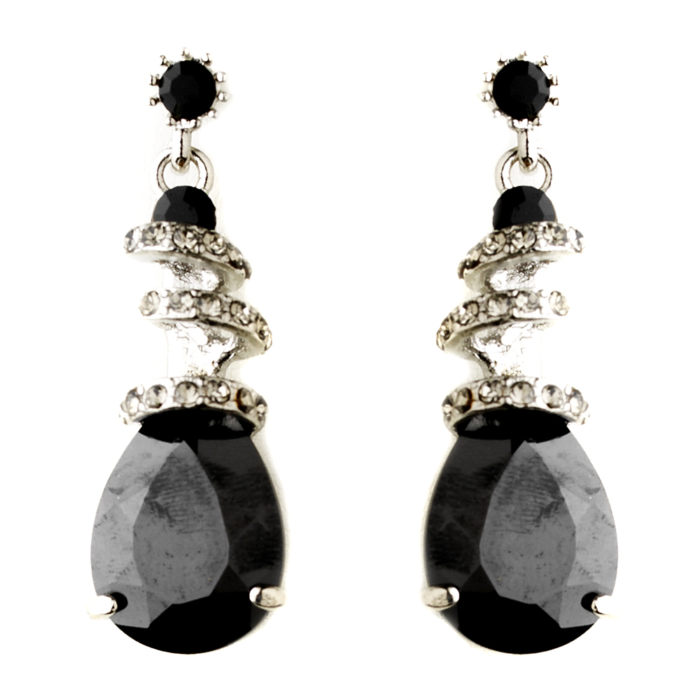 black swarovski crystal cz swirl earrings 8592