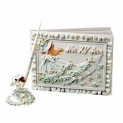 Blue 'Sweet 15' Girl Guest Book & Pen Set