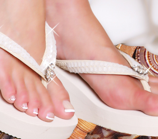 Breeze ~ Ivory High Wedge Bridal Flip Flops with Sequins & Crystals