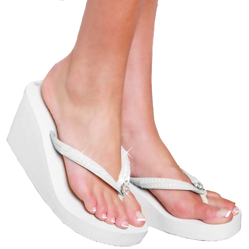 502d758b3f8b Breeze ~ White High Wedge Bridal Flip Flops with Sequins   Crystals