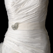Bridal Belt Sash with Crystal Swirl Brooch 112