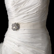 Bridal Belt Sash with Silver Clear AB Marquise Vintage Wreath Brooch 107