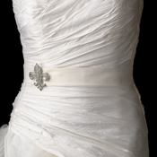 Bridal Belt Sash with Silver Clear Fleur De Lis Brooch 109