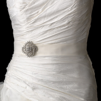 Bridal Belt Wedding Sash with Antique Crystal Swirl Brooch 116