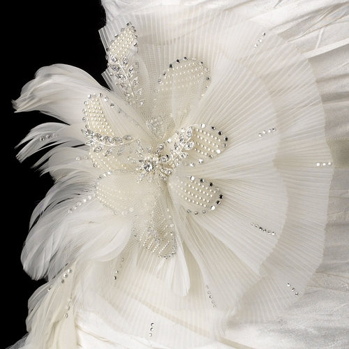 Bridal Belt with Ivory Couture Pearl & Rhinestone Feather Fascinator Clip 471