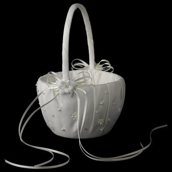 Bridal Flower Girl Basket FB 0136 Ivory