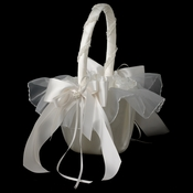 White Bridal Flower Girl Basket FB 502
