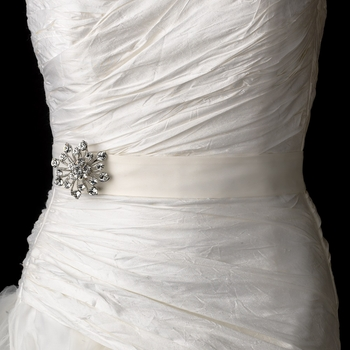 Bridal Sash Belt with Antique Crystal Floral Star Brooch 10
