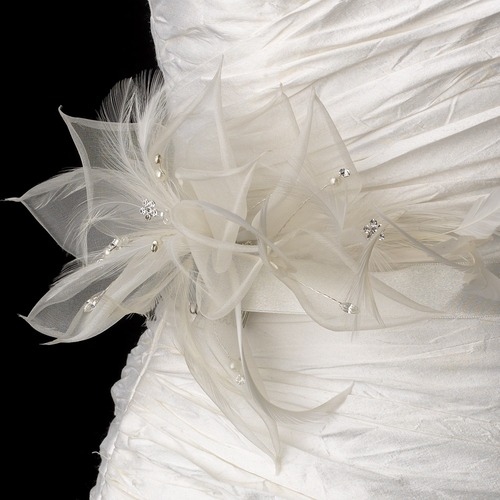 Bridal Sash Wedding Belt accented Flower Feather Fascinator Comb 7805