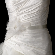 Bridal Sash Wedding Belt with Feather Fascinator Clip 1531