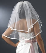 "* Bridal Wedding Double Layer Elbow Length 3/8"" Satin Ribbon Edge Veil VS E 3/8"
