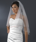 Double Layer Elbow Length Veil with Breathtaking Swarovski Crystal Edge (White or Ivory) V 293