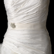 Bridal Wedding Sash Belt with Antique Silver Marquise Crystal & Pearl Brooch 118