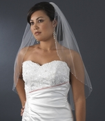 Single Layer Elbow Length Veil with Swarovski AB Crystal Edge (White or Ivory) 350