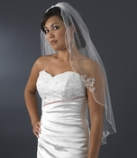 Fingertip Length Veil with Floral Embroidery Adornments V 3336