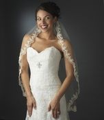 Intricate Single Layer Veil with Flower Embroidery Edge in Elbow Length V 591 1E ( White or Rum Pink)