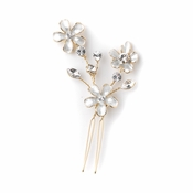 Bridal Wedding White Enamel Flower Gold Hair Pin 5135