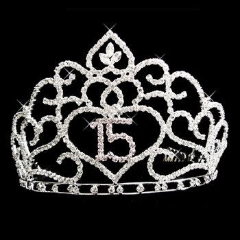 Brilliant Sweet 15 Quinceañera Rhinestone Covered Tiara in Silver with 253