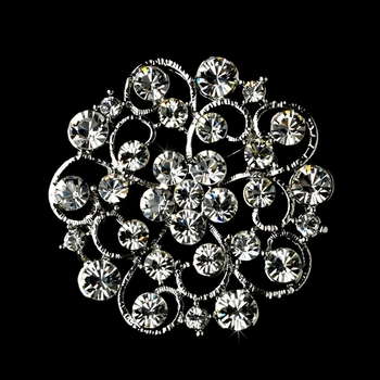 Brooch 58 Antique Silver Clear