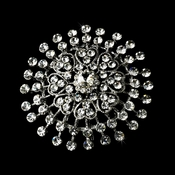 Sparkling Antique Silver Clear Brooch 61