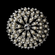 Brooch 65 Antique Silver Diamond White