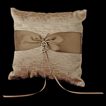 Brown Ribbon & Gold Heart Ring Pillow 722