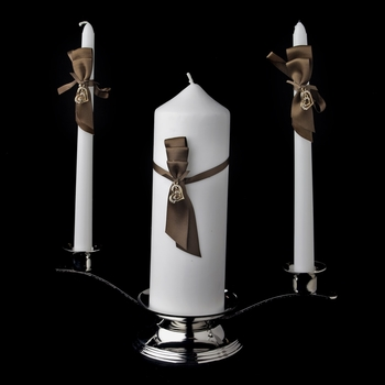 Brown Ribbon & Gold Heart Unity Candle Set 722