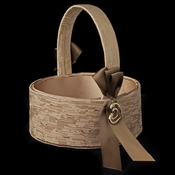 Brown Ribbon & Gold Heart Flowergirl Basket 722