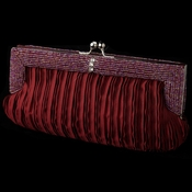 Burgundy Satin Beaded Rhinestone Bridal Evening Bag