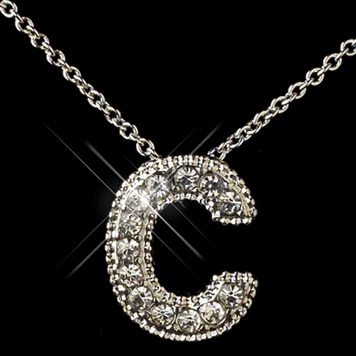 """""""C"""" Clear Rhinestone Letter Initial Pendant Necklace 1"""