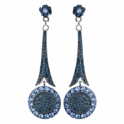 * Captivating Modern Blue Crystal Earrings E 942