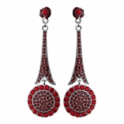 * Captivating Modern Red Crystal Earrings E 942