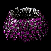 * Captivating Silver Fuchsia Rhinestone Stretch Cuff Bracelet B 916