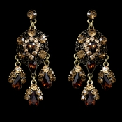 Celebrity Style Gold Brown Topaz Chandelier Earrings E 943