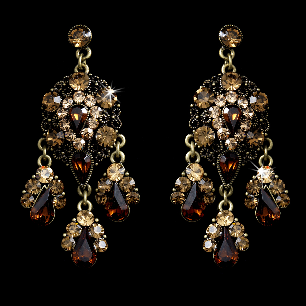 Celebrity style gold brown topaz chandelier earrings e 943 arubaitofo Choice Image