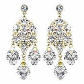 Celebrity Style Gold Clear AB Chandelier Earrings E 943