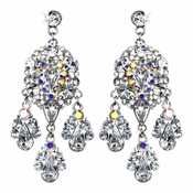 Celebrity Style Silver Clear AB Chandelier Earrings E 943