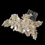 Champagne Rum Pink Floral Lace Comb w/ Sequins, Rhinestones & Pearl Accent Comb 3126