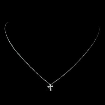 Charming Silver Clear CZ Holy Cross Necklace 8113