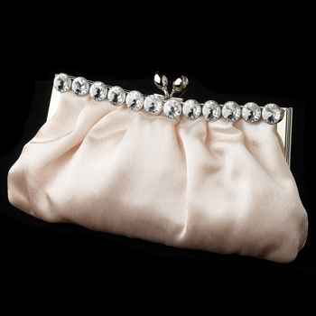Chic Champagne Satin Clear Rhinestone Evening Bag 302**Discontinued***