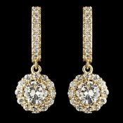 Child's Gold Clear Petite CZ Crystal Solitaire Encrusted Drop Earrings 2641