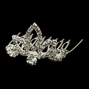 * Child's Silver Clear Clear Rhinestone Tiara Headpiece 688
