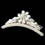Child's Silver White Pearl Flower Headpiece 854 w/ Leaves