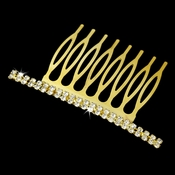 Classic Gold Hair Comb w/ Clear Rhinestones 9003