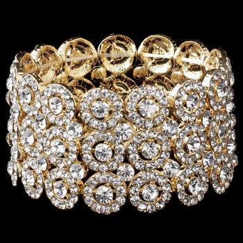 Clear Circle Gold 3 Row Stretch Bracelet 9887