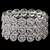 Clear Circle Rhodium 3 Row Stretch Bracelet 9887
