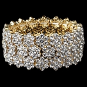Clear Gold Flower Rhinestone Stretch Bracelet 9886