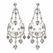 Silver Clear Rhinestone Bridal Earrings E 941